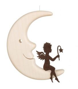 Ange métal assis sur une lune, 12 cm