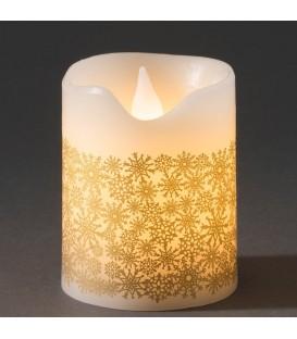 Bougie à LED en cire blanche avec flocons de neige dorés, 10 cm