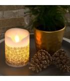 Bougie en cire à LED, rouge avec des flocons de neige dorés, 15 cm