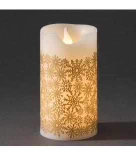Bougie en cire à LED, blanche avec des flocons de neige dorés, 15 cm