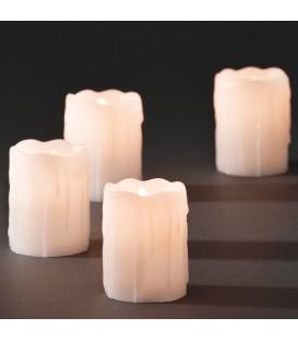 4 bougies en cire à LED, blanc, 6,8 cm