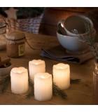 4 bougies LED en cire, blanc, 6,8 cm
