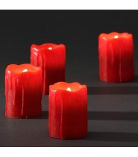 4 bougies en cire à LED, rouge, 6,8 cm