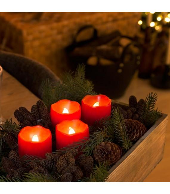 4 bougies LED en cire, rouge, 6,8 cm