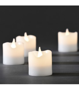 4 bougies en cire à LED, blanc, 4,5 cm