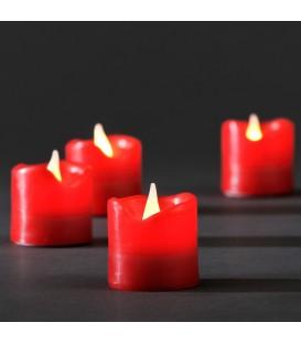 Bougies en cire à LED, lot de 4, rouge, 4,5 cm
