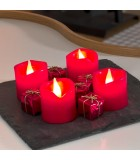 4 bougies LED en cire, rouge, 4,5 cm
