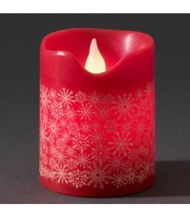 Bougie en cire LED, rouge avec des flocons de neige dorés, 10 cm