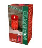 Bougie à LED en cire rouge avec flocons de neige dorés, 15 cm