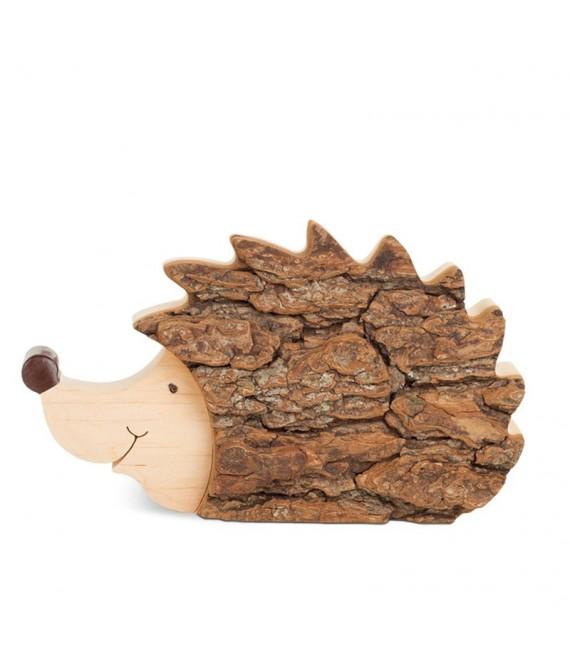 Hérisson en bois, 14 cm
