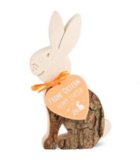Lapin de Pâques en bois assis, 11 cm