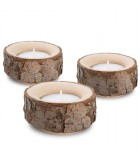 Lot de 3 bougeoirs en bois avec écorce, 9 cm