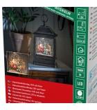 Lanterne à neige à LED avec père Noël dans son traîneau, 25 cm