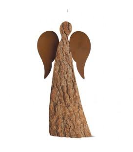 Ange de Noel en bois avec ailes métal, 20 cm