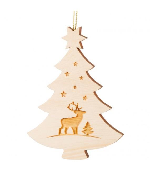 Pendentif sapin de Noël en bois, cerf
