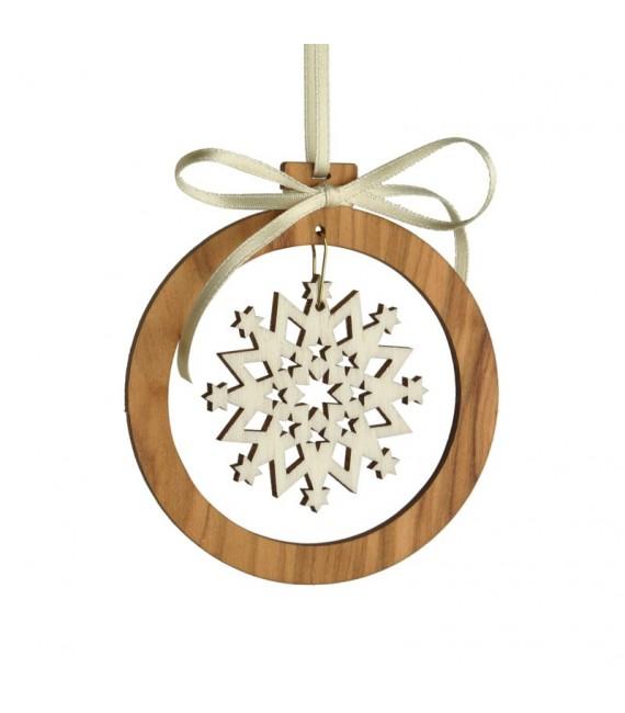 Pendentif en bois d'olivier 7cm, motif cristal de neige n°1