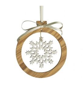 Pendentif en bois d'olivier 7cm, motif cristal de neige n°2