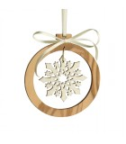 Pendentif en bois d'olivier 7cm, motif cristal de neige n°3