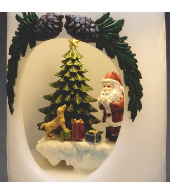 Bougie à LED Père Noël avec chien