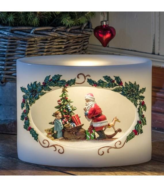 Bougie à LED Père Noël avec enfant