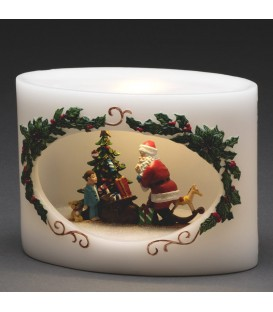 Bougie LED Père Noël avec enfant