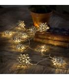 Guirlande lumineuse décorative à LED, flocons de neige métalliques couleur argent