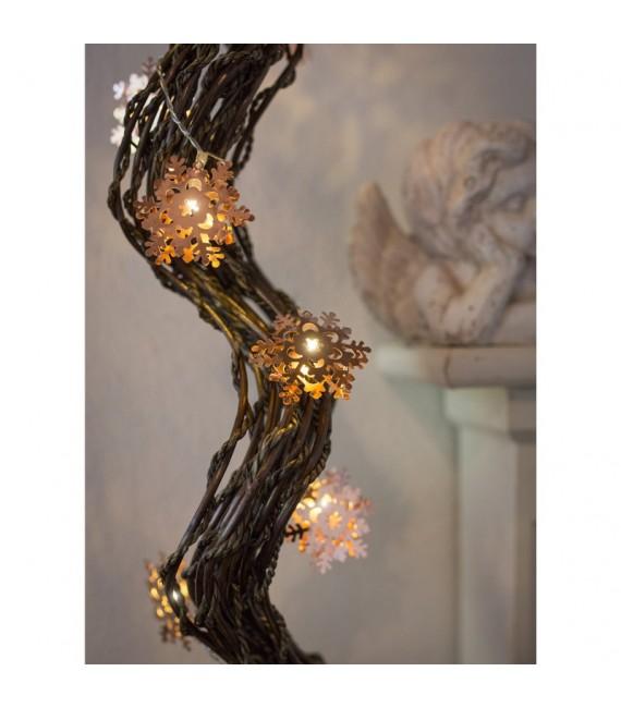 Guirlande lumineuse décorative à LED, flocons de neige métalliques couleur cuivre