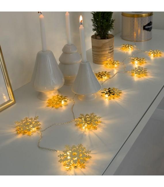 Guirlande lumineuse décorative à LED, flocons de neige métalliques dorés