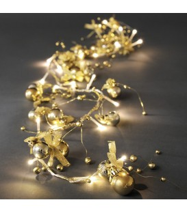 Guirlande lumineuse décorative à LED, perles et boucles dorées