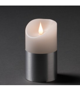Bougie LED à flamme vacillante aspect cire, 13,5 cm, couleur argent