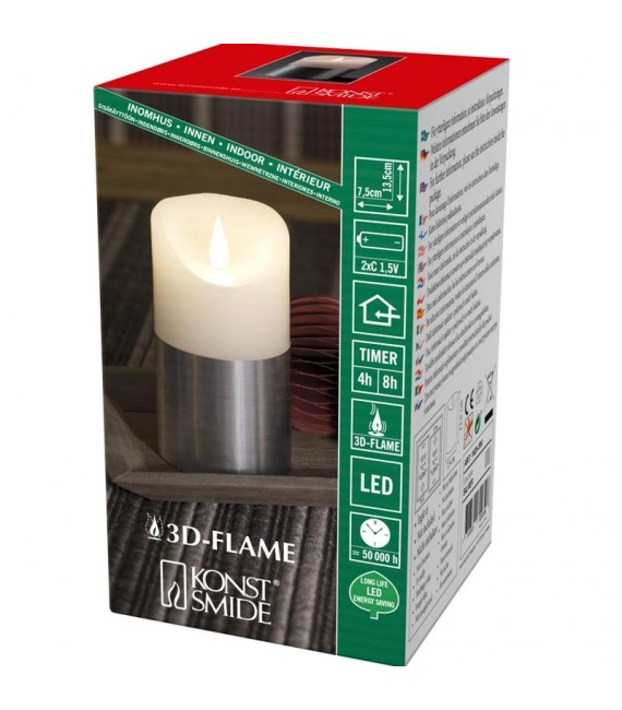Bougie LED à flamme vacillante aspect cire, 13,5 cm, bague couleur argent