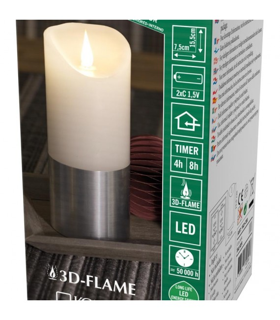 Bougie LED à flamme vacillante aspect cire, 15,5 cm, bague couleur argent