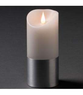 Bougie LED à flamme vacillante aspect cire, 17,5 cm, bague couleur argent