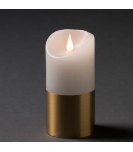 Bougie LED à flamme vacillante aspect cire, 15,5 cm, bague couleur laiton