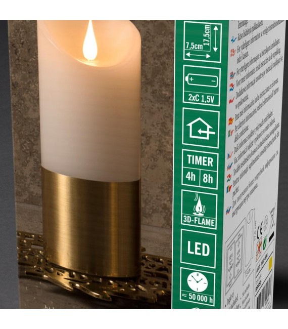 Bougie LED à flamme vacillante aspect cire, 17,5 cm, bague couleur laiton
