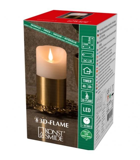 Bougie LED à flamme vacillante aspect cire, 13,5 cm, bague couleur laiton
