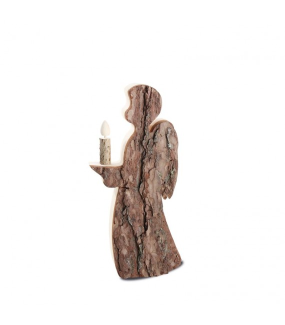 Statuette ange de Noël en bois avec bougie 25 cm