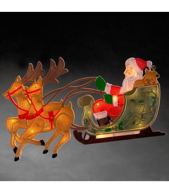 Père Noël lumineux avec traineau et rennes