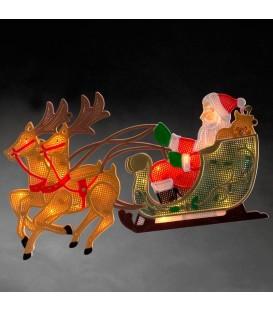 Père Noël lumineux avec rennes et traineau