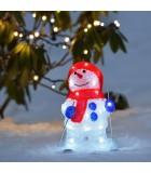 Bonhomme de neige lumineux LED avec ski pour extérieur, 28 cm