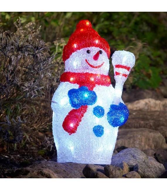 Bonhomme de neige lumineux à LED pour extérieur, 38 cm