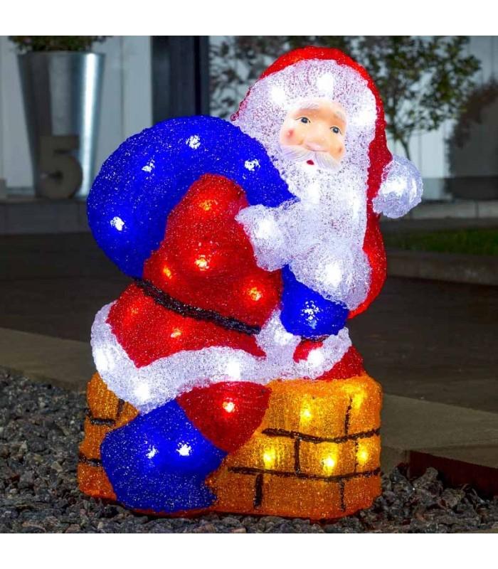 Decoration De Noel Exterieur Lumineuse.Père Noël Lumineux à Led Avec Cheminée Pour Extérieur 37 Cm