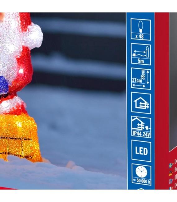 Père Noël lumineux à LED avec cheminée pour extérieur, 37 cm