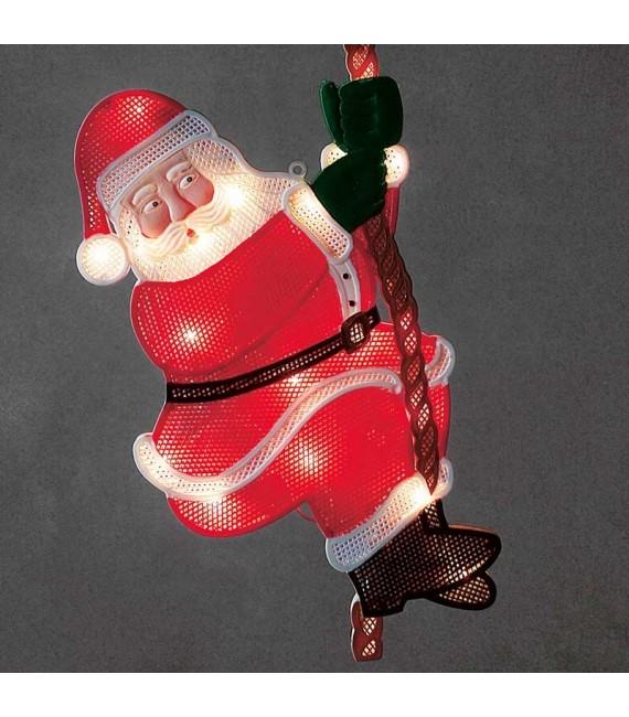 Père Noël lumineux grimpeur sur une corde