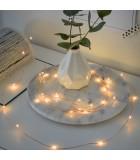 Guirlande LED à pile, 20 diodes ambrées, fil cuivré