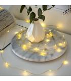 Guirlande LED à pile, 20 diodes ambrées, fil laiton