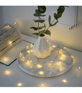 Guirlande LED à pile, 20 diodes ambrées, fil argenté