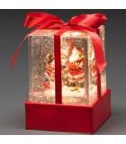 """Lanterne à neige """"Cadeau de Noël"""" avec Père Noël & bonhomme de neige"""