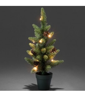 Sapin de Noël lumineux LED avec pommes de pin et pot, 45 cm