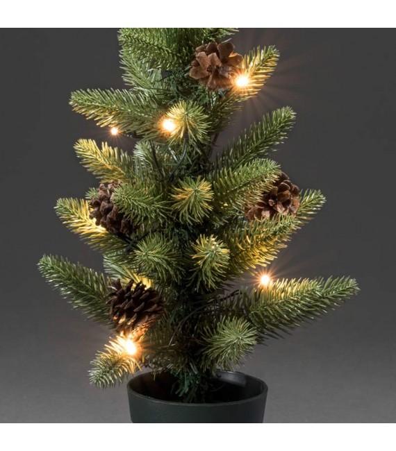 Sapin de Noël lumineux à LED avec pommes de pin et pot, 45 cm